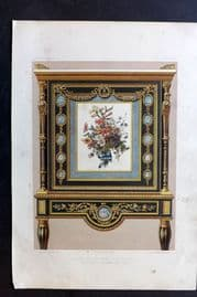Waring 1858 Folio Print. Or Moulu Cabinet, Inlaid with Porcelain 15
