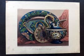 Waring 1858 Folio Print. Palissy Ware from the Soulages Collection 11