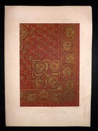 Waring 1863 Antique Print. Gold Embroidery in Velvet Indian