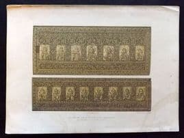 Waring 1863 Antique Print. Lid and one side of an Ivory Casket (Romanesque)