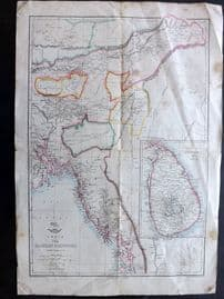 Weller C1860 Antique Map. India The Eastern Provinces with Ceylon 15