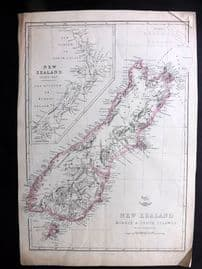 Weller C1860 Antique Map. New Zealand Middle & South Islands