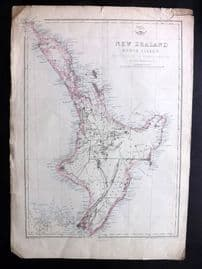 Weller C1860 Map. New Zealand North Island New Ulster or Eaheinomauwe