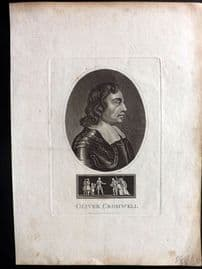Wilkes Londinensis 1795 Antique Portrait Print. Oliver Cromwell REDUCED FROM £16