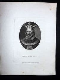Wilkes Londinensis C1810 Antique Portrait Print. Alfred the Great
