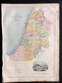 William Collins (Pub) C1870 Antique Map. Canaan in Possession of the Twelve Tribes of Israel