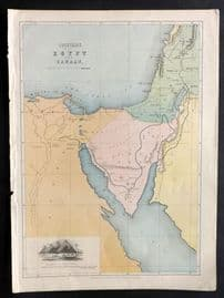 William Collins (Pub) C1870 Antique Map. Countries between Egypt and Canaan