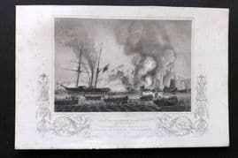 """Williams 1857 Naval Print. East India Co. """"Nemesis"""" Chinese War Junks, Anson's Bay"""
