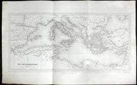 Wright & Findlay 1840 Antique Map. The Mediterranean.