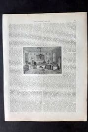 Blackie 1882 Antique Print. Room in a Chinese House, Peking. China