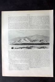 Blackie 1882 Print. Athens and Mount Hymettus from Mount St. Elias, Greece