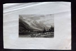 Finden 1833 Antique Print. Chamouni, Switzerland