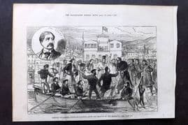 ILN 1880 Antique Print Arrival of Colonel Synge at Salonica, Thessaloniki Greece