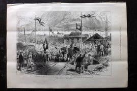 ILN 1880 Antique Print. Completion of St. Gotthard Tunnel, Airolo, Switzerland