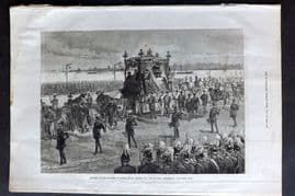 ILN 1880 Antique Print. Funeral of the Empress of Russia at St. Petersburg