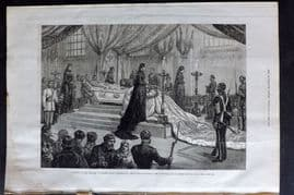 ILN 1880 Antique Print. Funeral of the Empress of Russia at St. Petersburg.