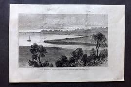 ILN 1880 Antique Print. Land reclaiming works at Brading Haven, Isle of Wight