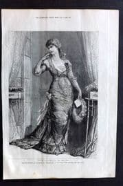 "ILN 1880 Antique Print. Madame Modjeska as Constance in ""Heartsease"" Theatre"