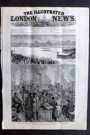 ILN 1880 Antique Print. Oxford and Cambridge Boat Race. Race Postponed Rowing