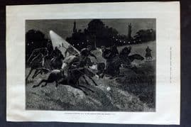 ILN 1880 Antique Print. Polo Match by Electric Light at the Ranelagh Club