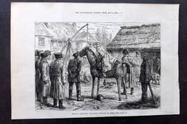 ILN 1880 Antique Print. Russian Sketches: Teaching Cossacks to Ride