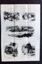 ILN 1880 Antique Print. Sketches of Gipsy Life round London