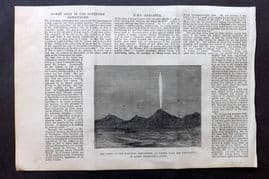 ILN 1880 Astronomy Print. Comet in Southern Hemisphere as seen from Wellington