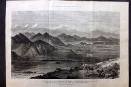 ILN 1880 LG Antique Print. City of Cabul, Afghanistan