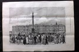 ILN 1880 Print. Attempts on the Czar's Life, Winter Palace, St. Petersburg Russia.