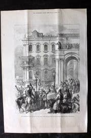 ILN 1880 Print. Emperor of Russia bowing to the People, Winter Palace Russia