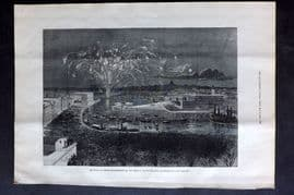 ILN 1880 Print. Reception of Nordenskjold, Swedish Explorer. Stockholm Fireworks