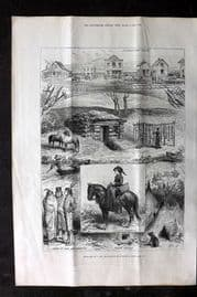 ILN 1880 Print. Sketches of a new Settlement in Minnesota, USA, American Indians