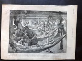 The Graphic 1897 Print. Rebellion in Cuba. Wounded Spanish Soldiers. Havana