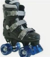 California Pro Black Quad Roller Skates with GREEN wheels(not blue)