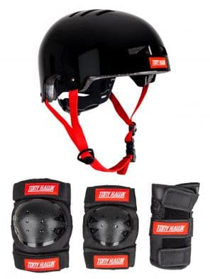 Tony Hawk Protective Set Helmet & Padset 4-8 Yrs Black/Red S/M JNR