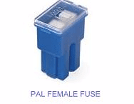 'PAL' FUSE FEMALE <br> 20 - 100 Amp rating <br> 32 x 22.25 x 15.00mm  <br>Standard size <br>PAL