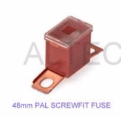 'PAL' fuse MALE <br>Screw fitting <br> 20 - 100 Amp rating <br>48mm length Standard size PAL fuses