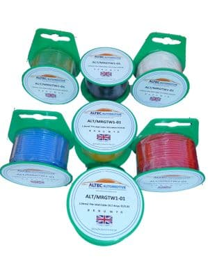 1mm sq. AUTO  CABLE 16.5AMP 15 METRE Mini Reel (Choice of 9 colours)<br>ALT/MRGTW1-01