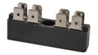 2 x 4-Way Bus Bar with 6.3mm Common Plated Brass Blade Terminals - 25A-0-005-52