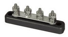 """4-Stud Tin-Plated Copper Bus Bar with 4 x 3/16"""" UNF Studs - 100A-0-005-51"""