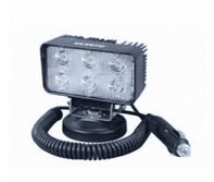6 x 3W LED Work Lamp with Magnetic Base and 450mm Flying Lead - Black, 12/24V, IP67-0-420-72
