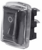 Black On/Off Single-Pole Rocker Switch with PVC Cover - 10A at 12V   0-530-51<br><br>