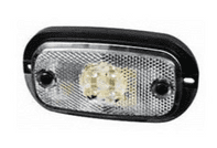 Clear LED Front Marker Lamp with Reflex Reflector and Leads - 12V-0-167-00