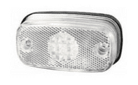 Clear LED Front Marker Lamp with Reflex Reflector and Screw Cable Connections - 24V-0-169-50