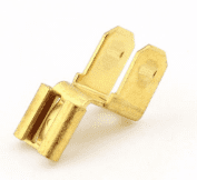 FEMALE 6.3mm TO TWO MALE 6.3mm BLADES terminal brass 6.3x0.8mm <br>ALT/T30-297-09