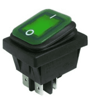 Green Illuminated Double Pole Rocker Switch  IP65    ALT/SW-RL2P-21-N-4