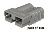 GREY  Polycarbonate 2-Pole High Current Connector - 50Amp  pack of 100    0-431-45
