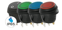 Range of 12V  WATERPROOF  (IP65)  Circular Rocker switches