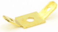 TWO MALE 6.3mm BLADES CENTRAL BOLT HOLE terminal brass 6.3x0.8mm <br>ALT/T30-304-09