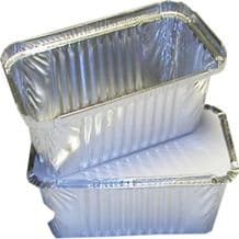 1000 Small Aluminium Foil Food Containers + Lids Size 140 x 115 x 50mm Takeaway